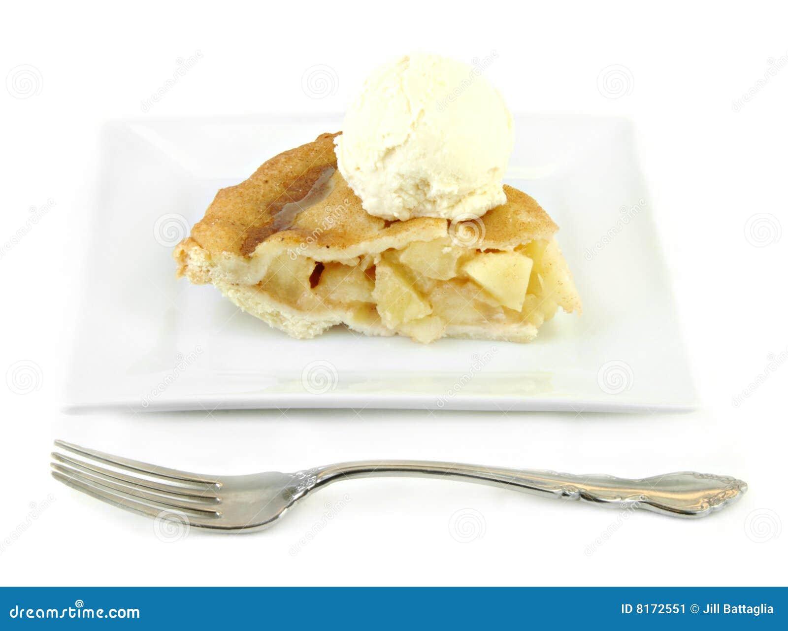Apple Pie With Ice Cream On White Plate Stock Image ...