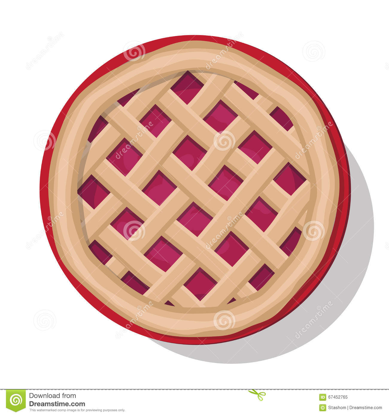 Cake Clipart Top View : Apple Pie Vector Illustration. Stock Vector - Image: 67452765