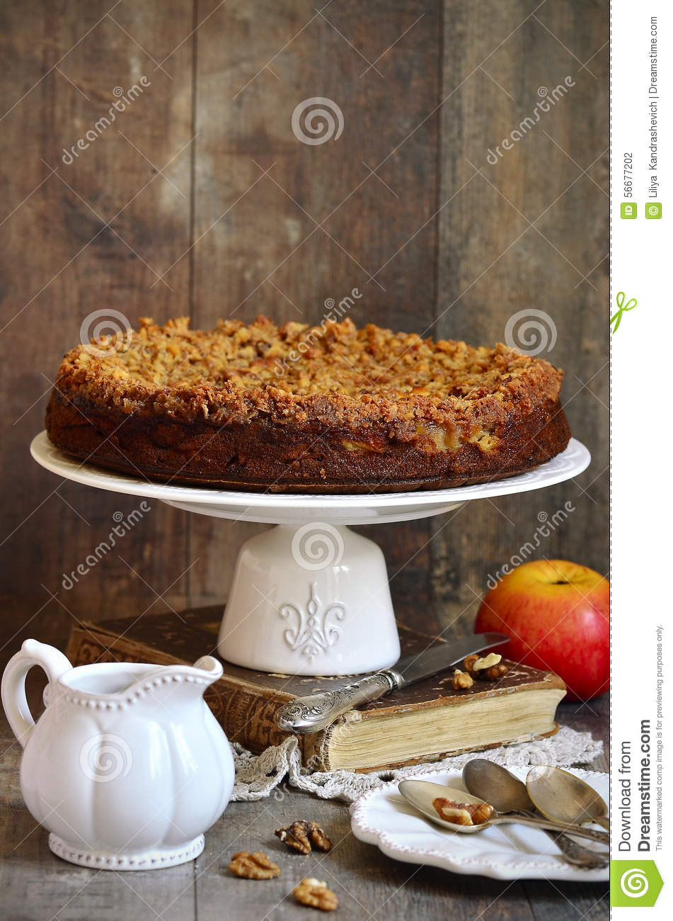 Apple Pie With Walnut And Sugar Glaze. Stock Photo - Image ...