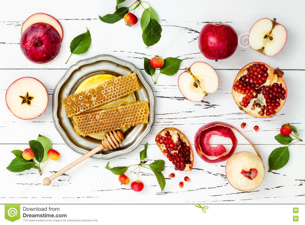 Apple, Pomegranate And Honey, Traditional Food Of Jewish ...