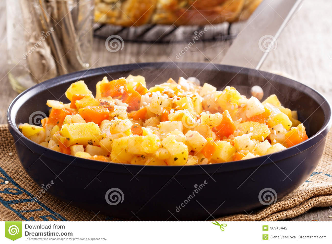 Apple and root vegetable hash with potato, carrots and celery root.