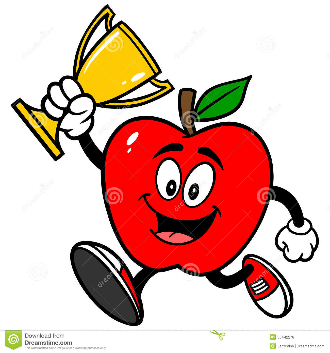 Apple Running With Trophy Stock Vector