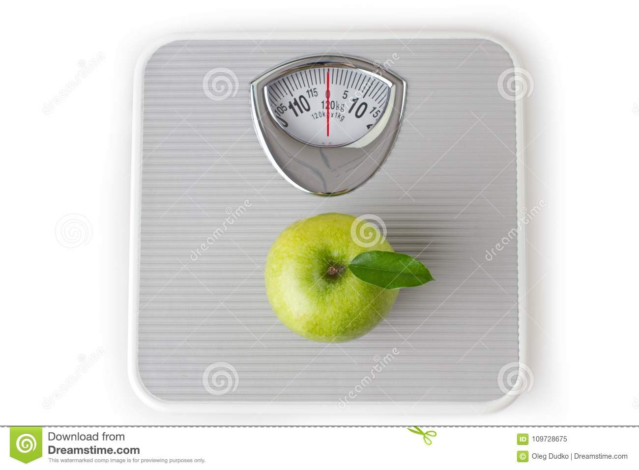Green Apple On A Bathroom Scale Weight Loss Stock Image