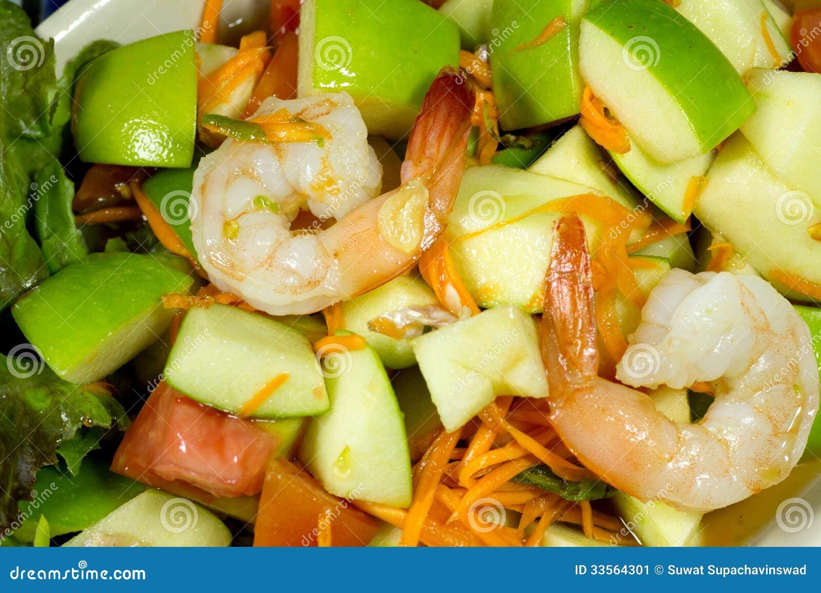 Stock Image: Apple shrimp salad thai style
