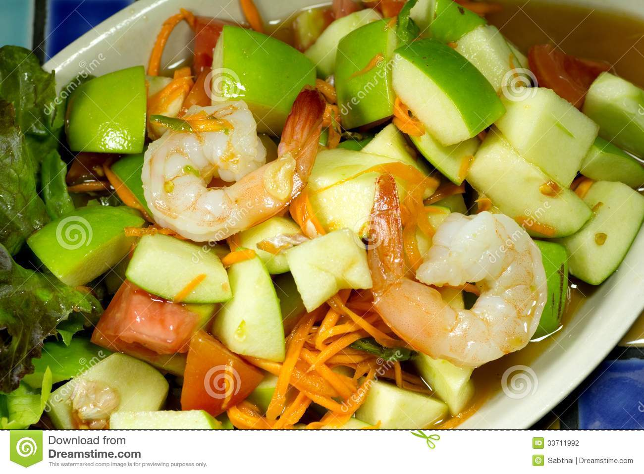 Apple Shrimp Salad Thai Style Stock Photography - Image: 33711992