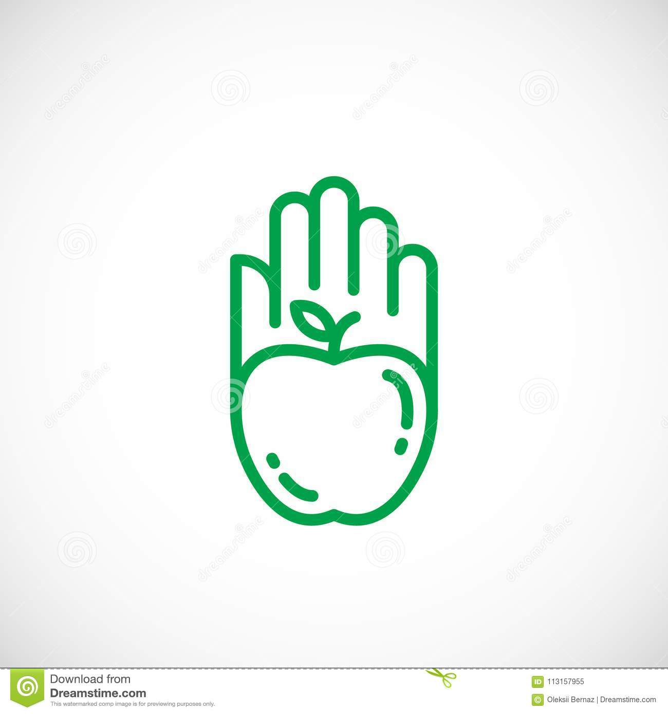 Apple Silhouette Incorporated In A Hand Palm Icon Line Style