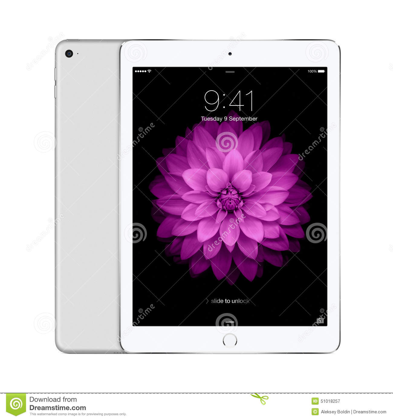 Apple Silver IPad Air 2 With IOS 8 With Lock Screen On The