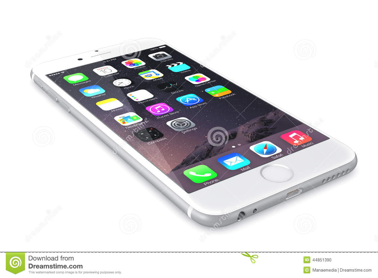 New Silver IPhone 6 Plus Showing The Home Screen With IOS ...