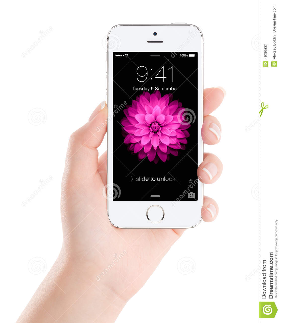 Apple Silver IPhone 5S With Lock Screen On The Display In Female