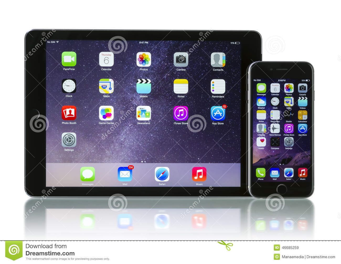 Editorial Stock Image: Apple Space Gray iPhone 6 and iPad Air 2 Wi-Fi ...