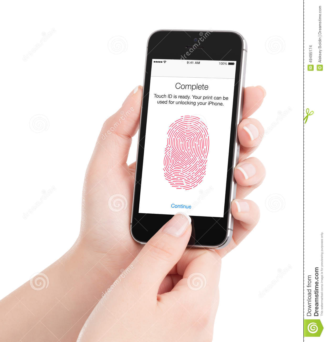 iphone thumbprint lock holding smartphone with scanning fingerprint on the 12387