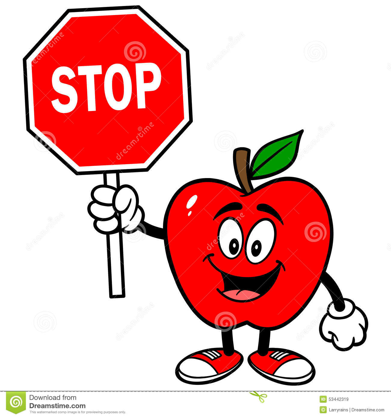 Apple with Stop Sign stock vector. Illustration of single