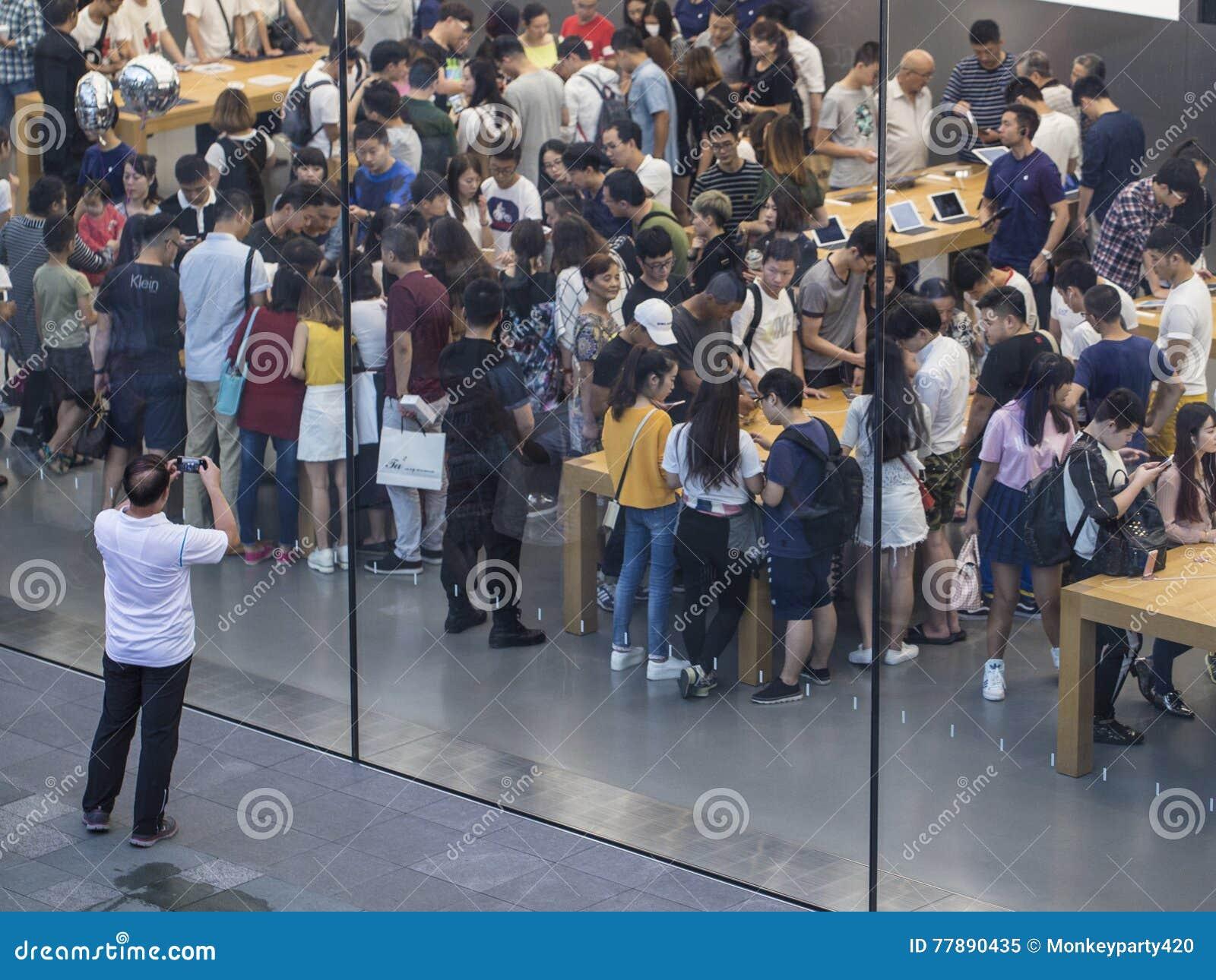 Apple Store Ocupado Imagen editorial