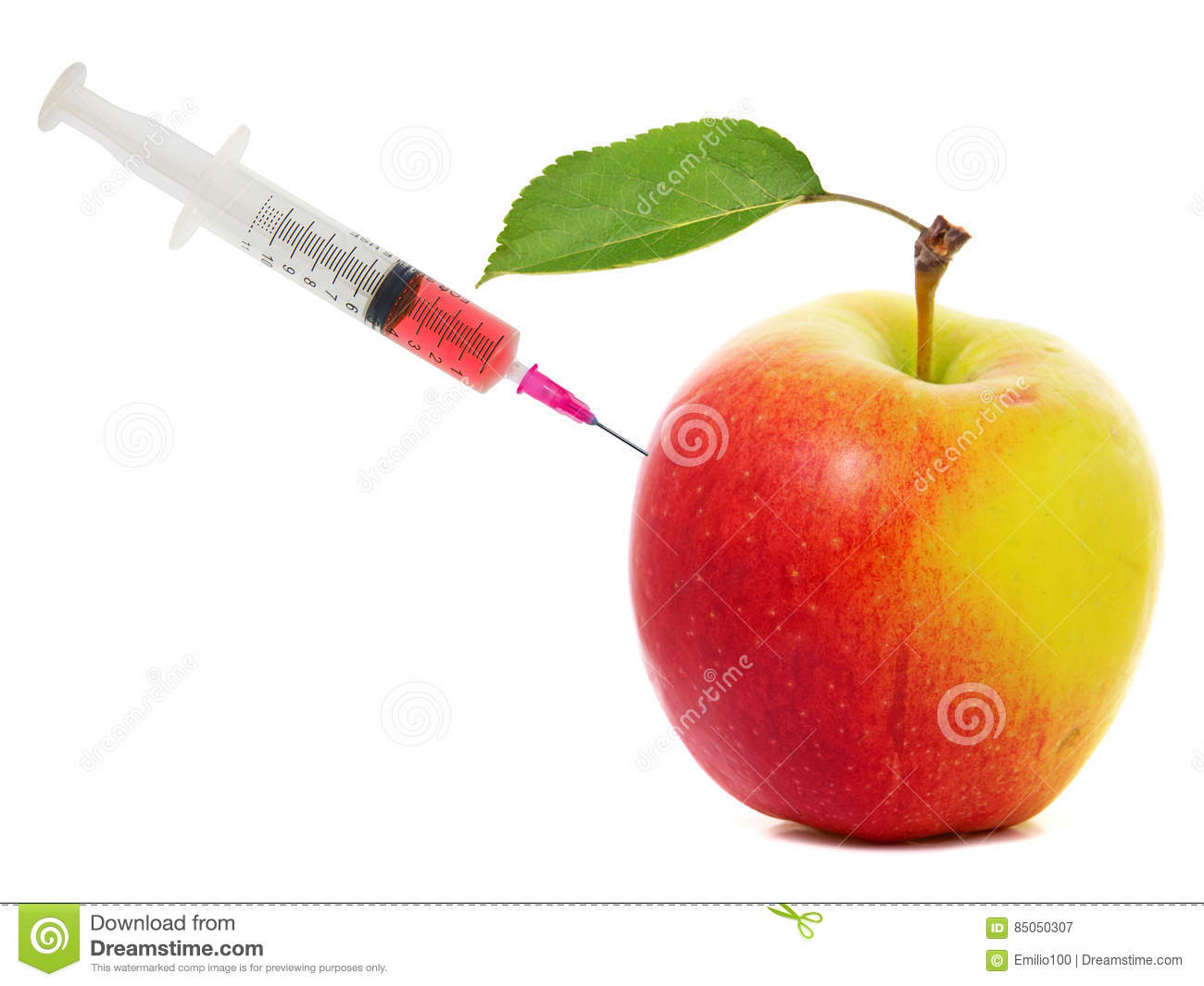 apple stuck with syringe concept of genetic modification of fruits