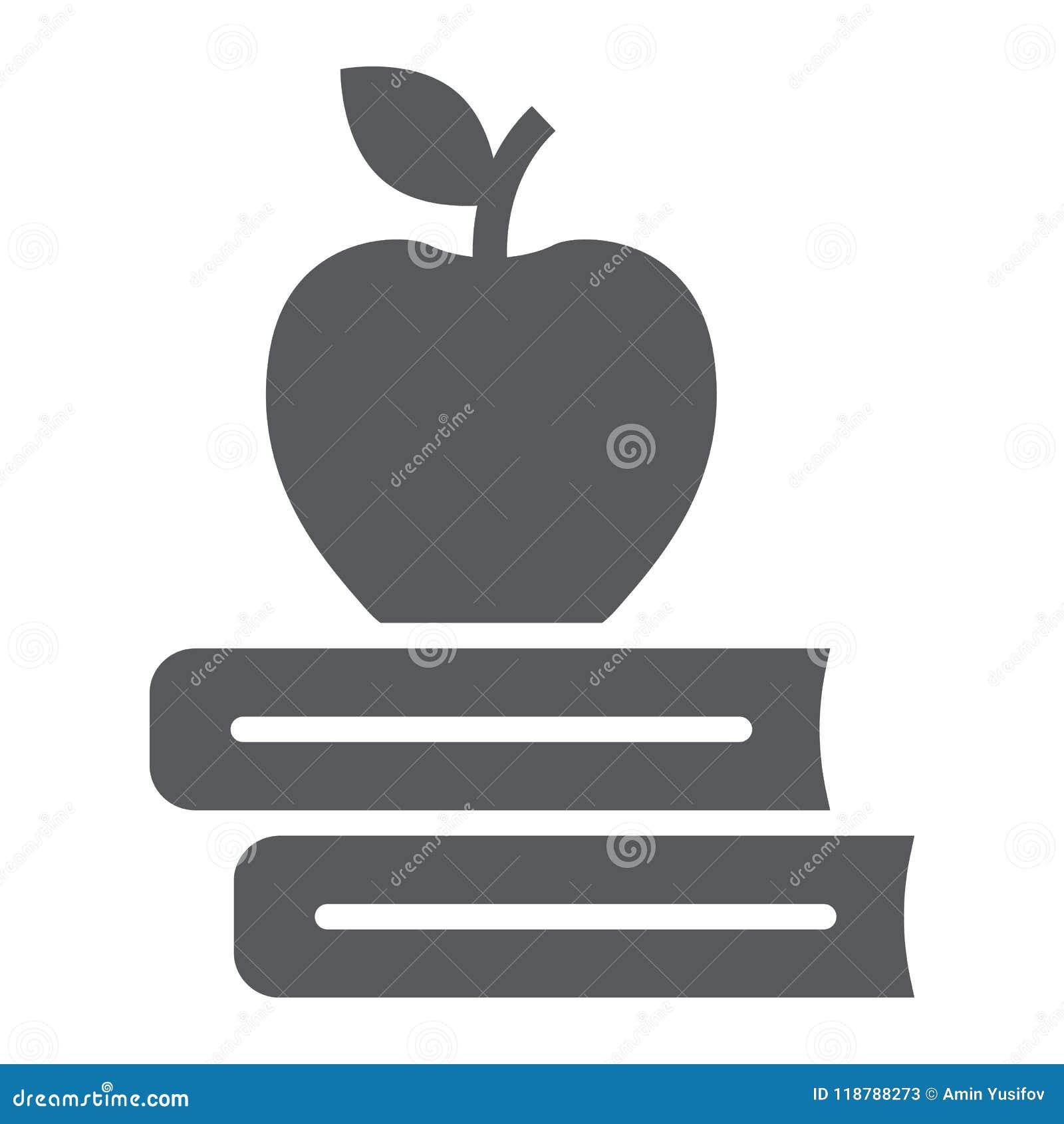 Apple sur l icône de glyph de livres, éducation d école