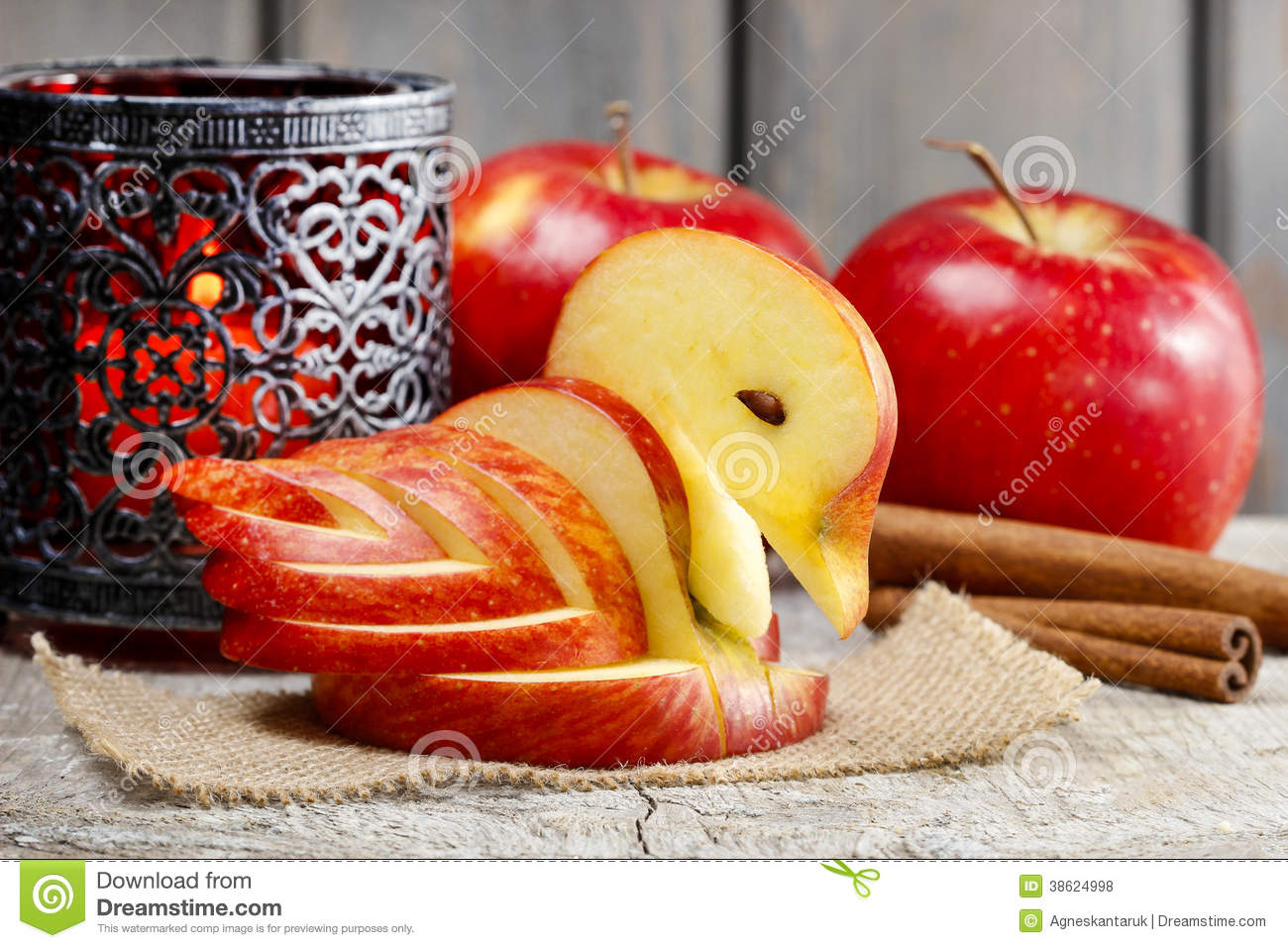 Apple swan decoration made of fresh fruit royalty free for Apple fruit decoration