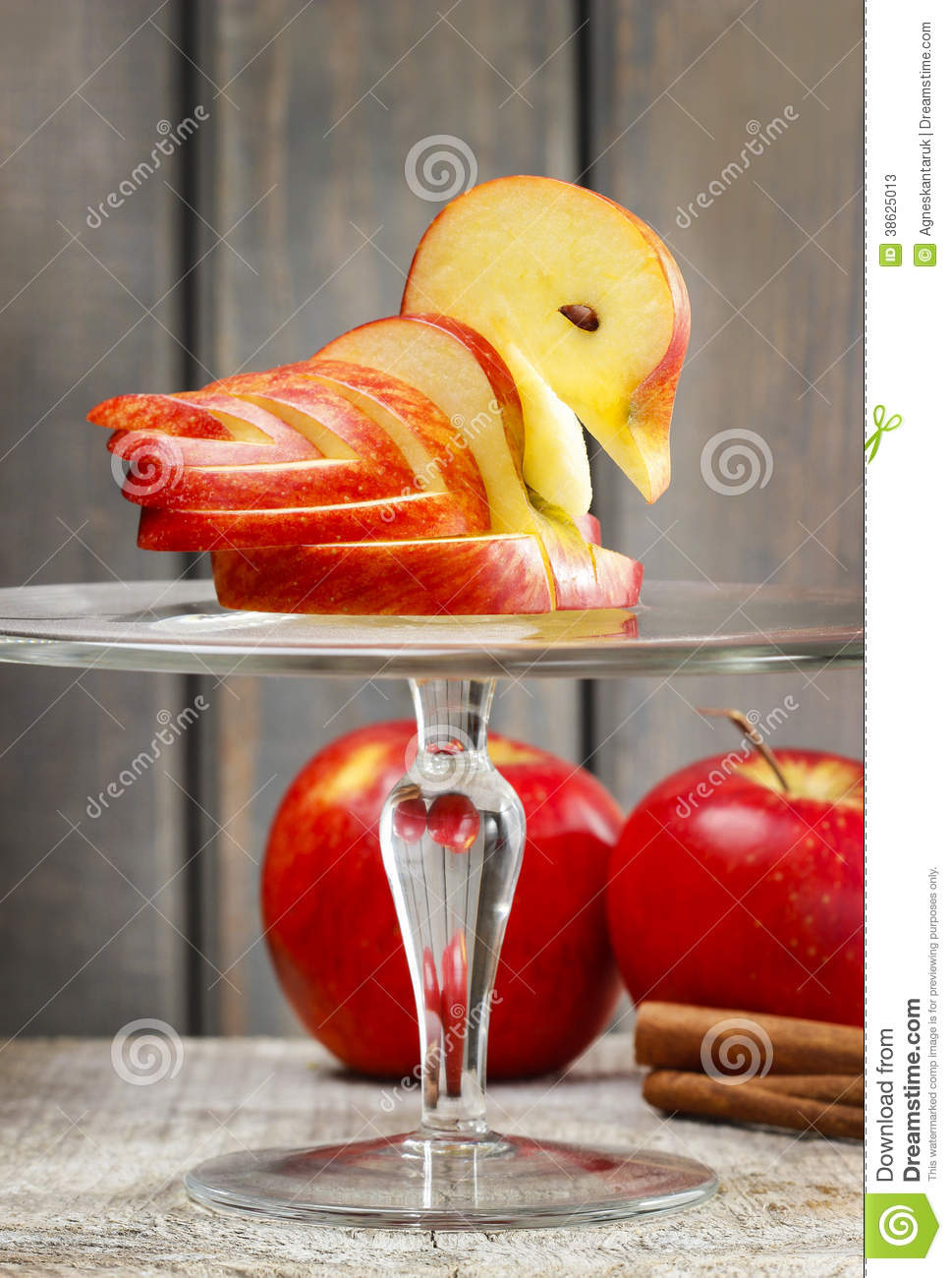 Apple swan decoration made of fresh fruit stock photos for Apple fruit decoration