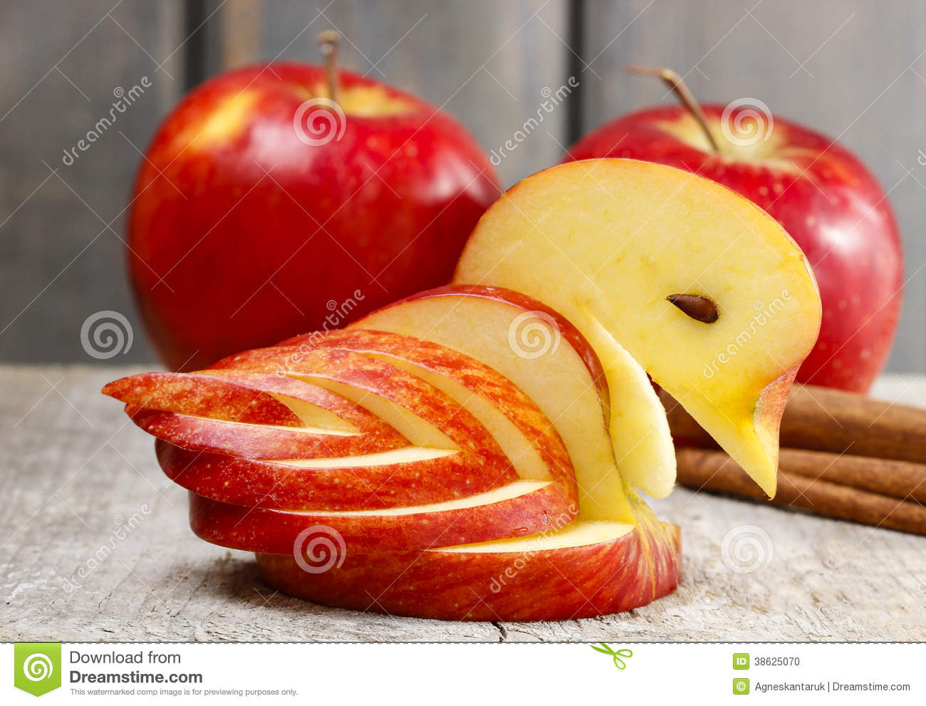 apple swan decoration made of fresh fruit stock photo