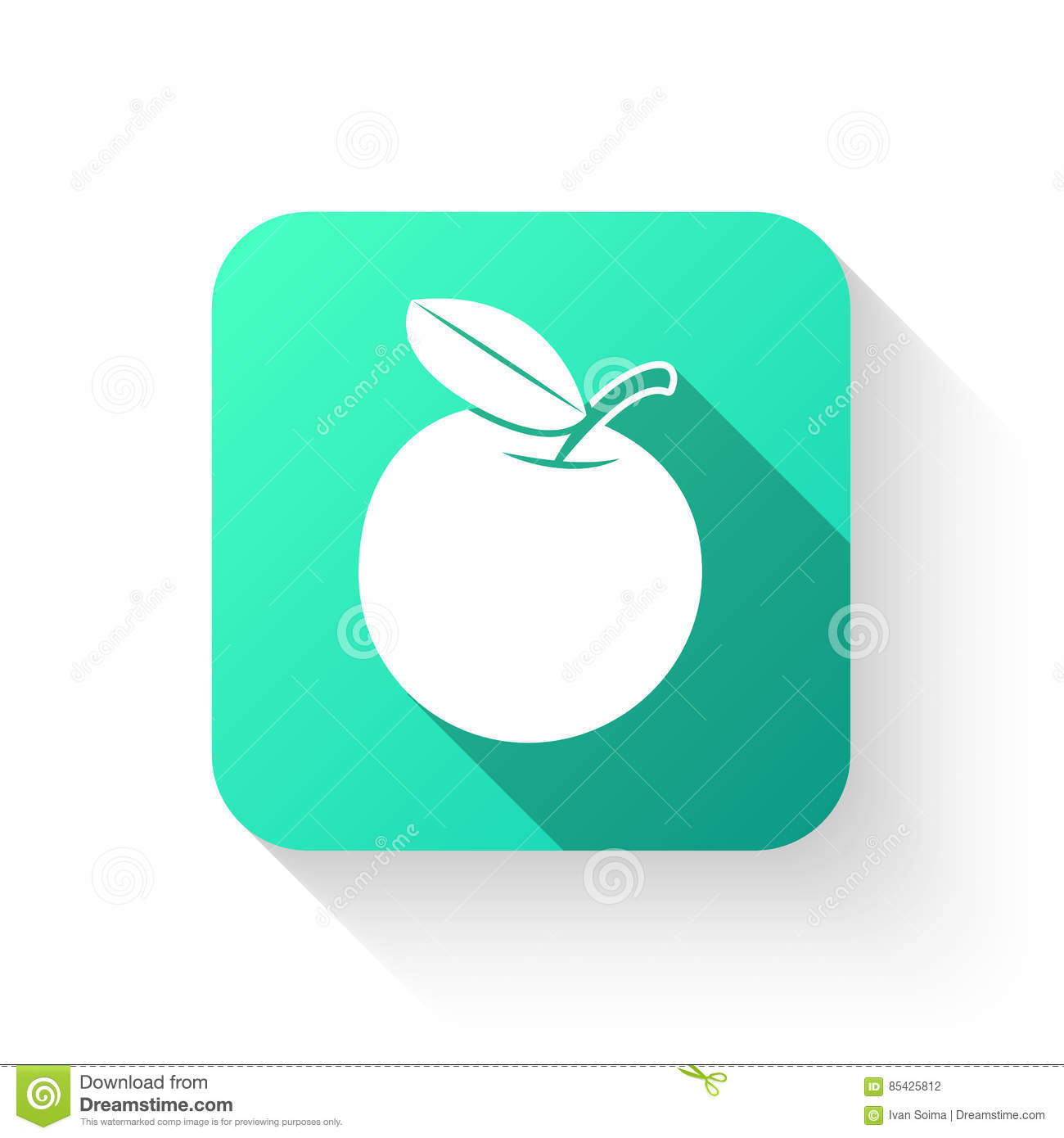 Apple Symbol Icon Flat Style On A White Background Stock Vector