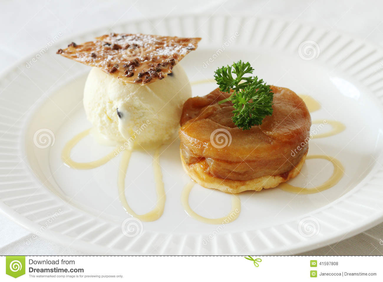 Warm apple tart with vanilla ice cream.