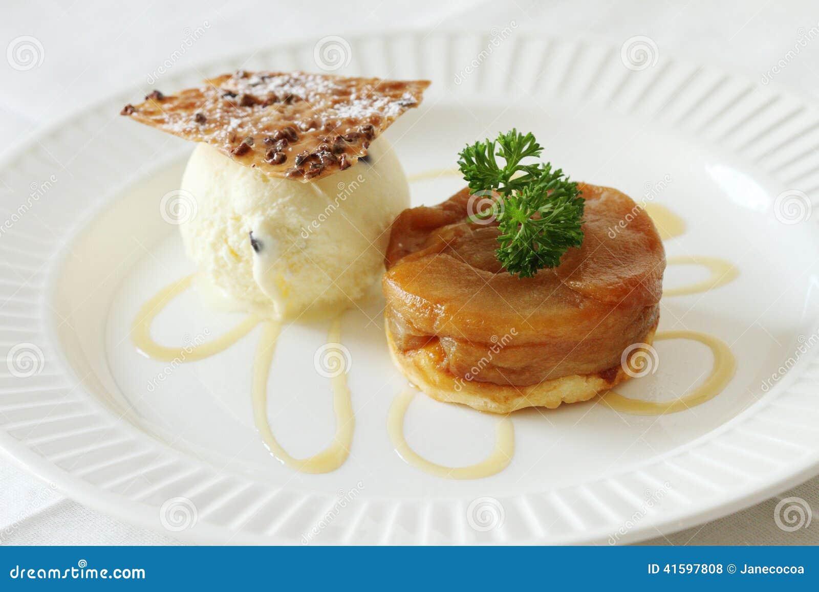 Warm apple tart with vanilla ice cream.