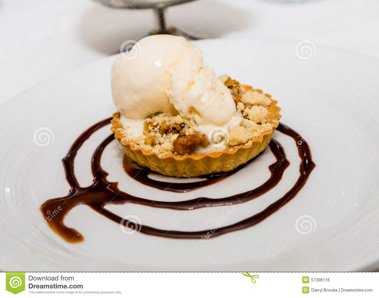 Apple Tart With Vanilla Ice Cream And Chocolate Sauce Stock Photo ...