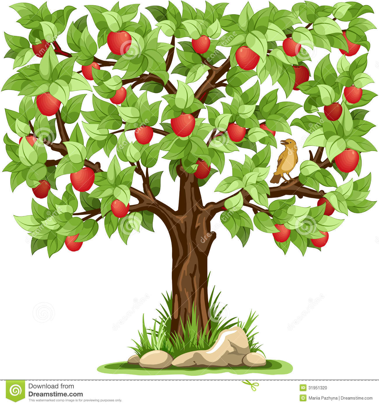 Cartoon apple tree isolated on white background.