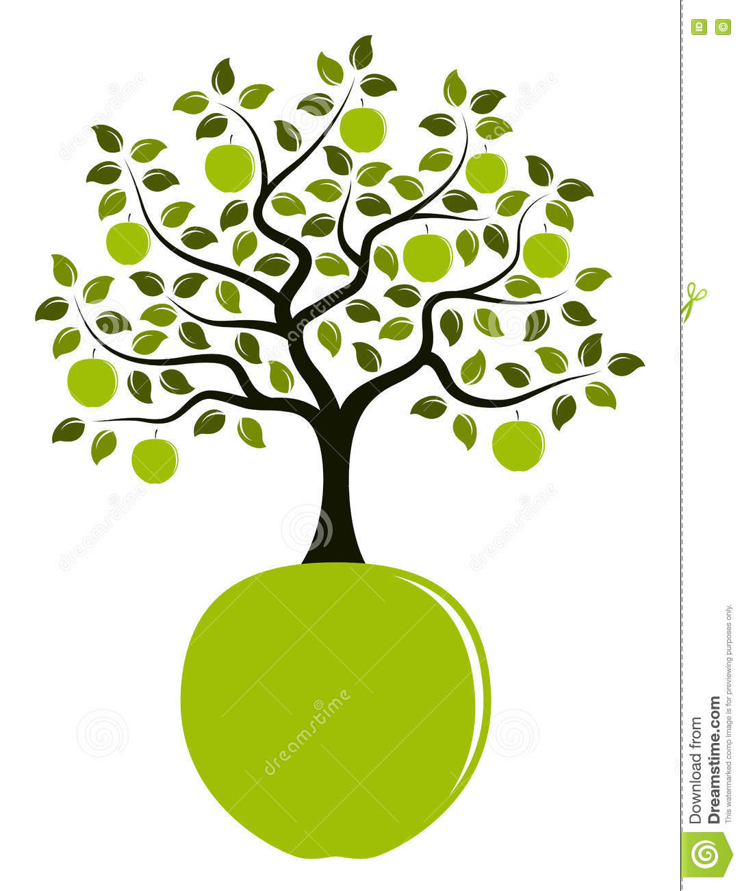 Apple Tree Growing From Apple Stock Illustration ...