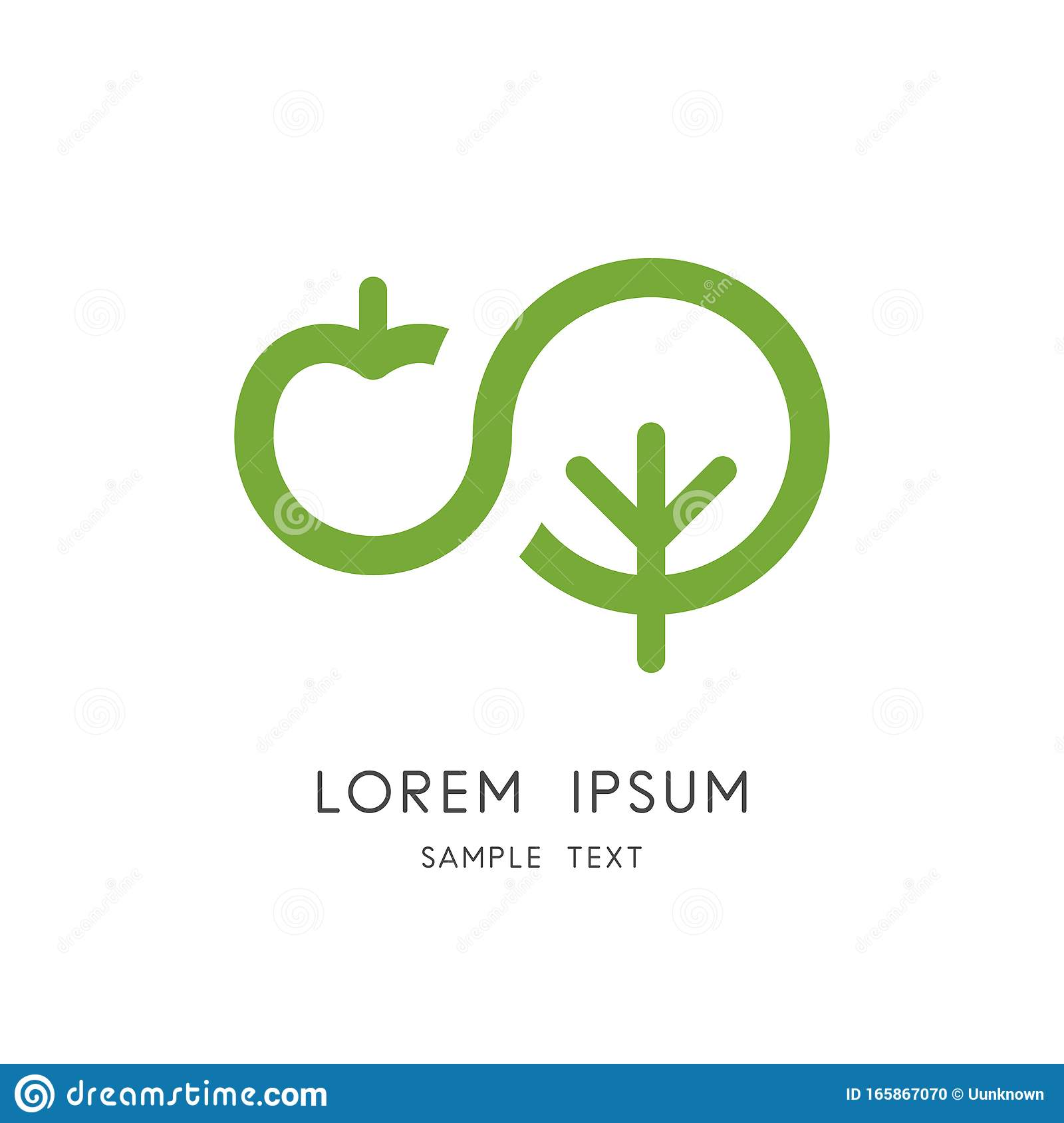 Apple Tree Logo Organic And Natural Food Stock Vector Illustration Of Ecological Natural 165867070