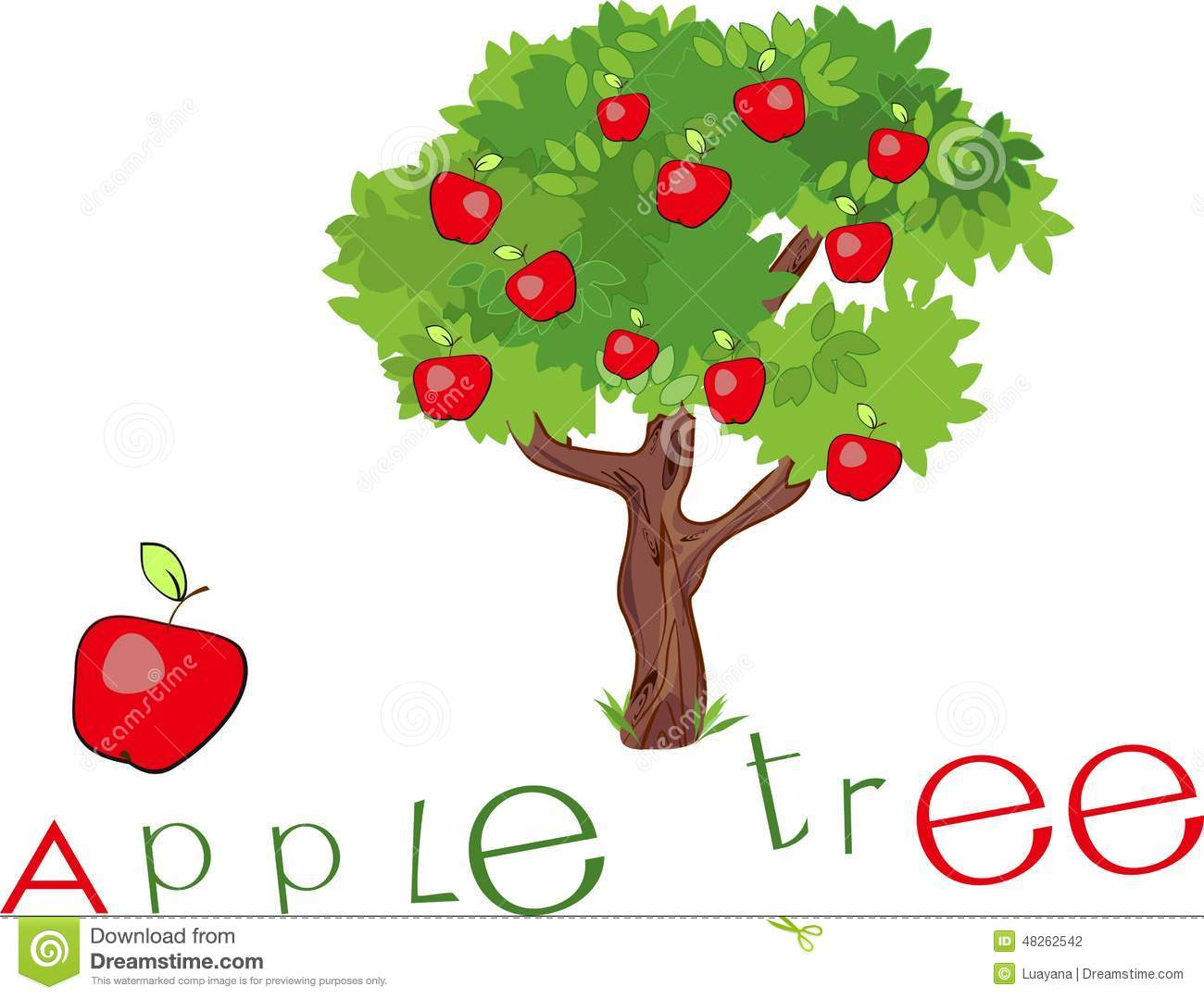 Apple tree with title stock vector  Illustration of font - 48262542