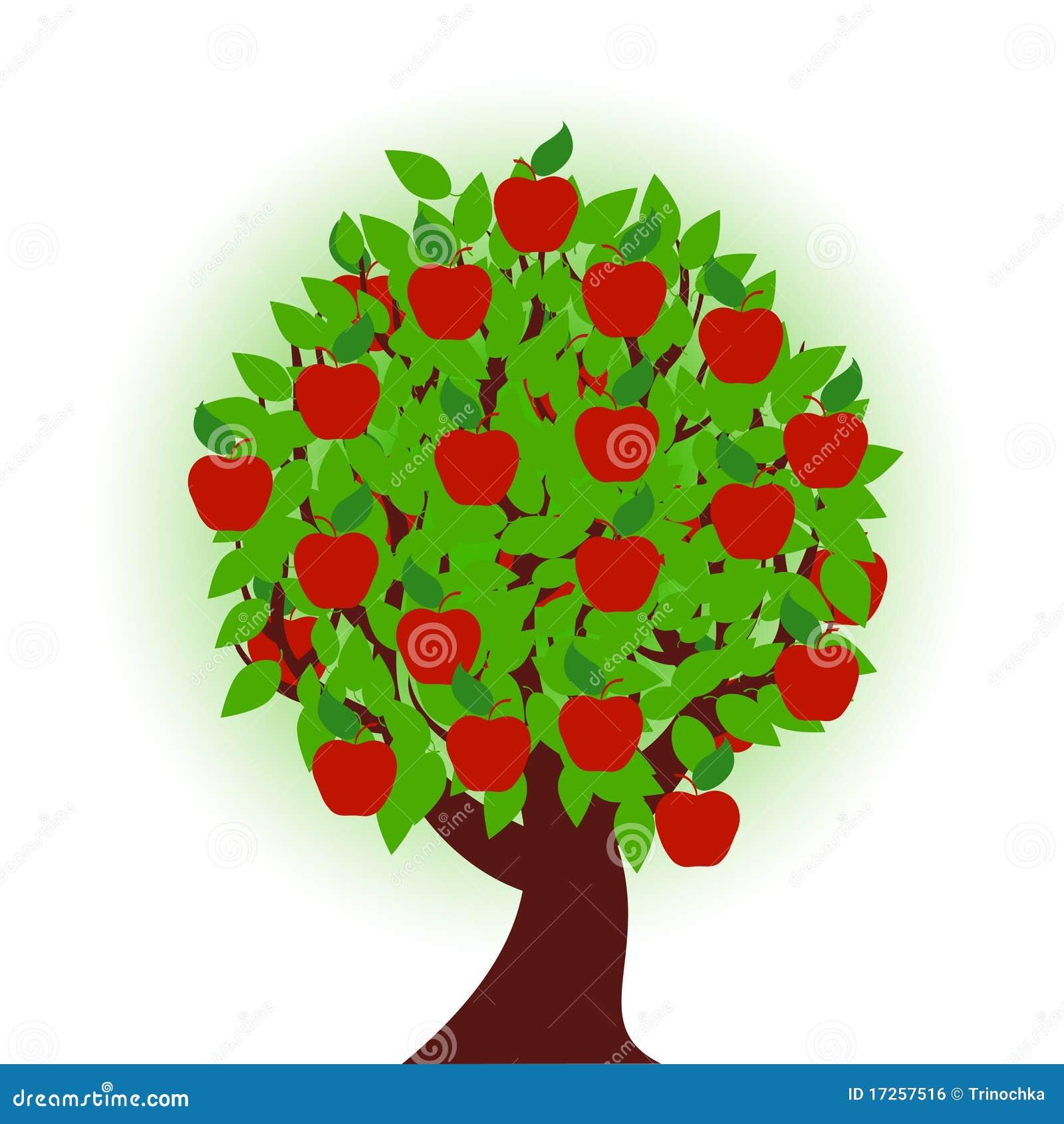 Apple Tree On White Background Stock Vector Illustration Of