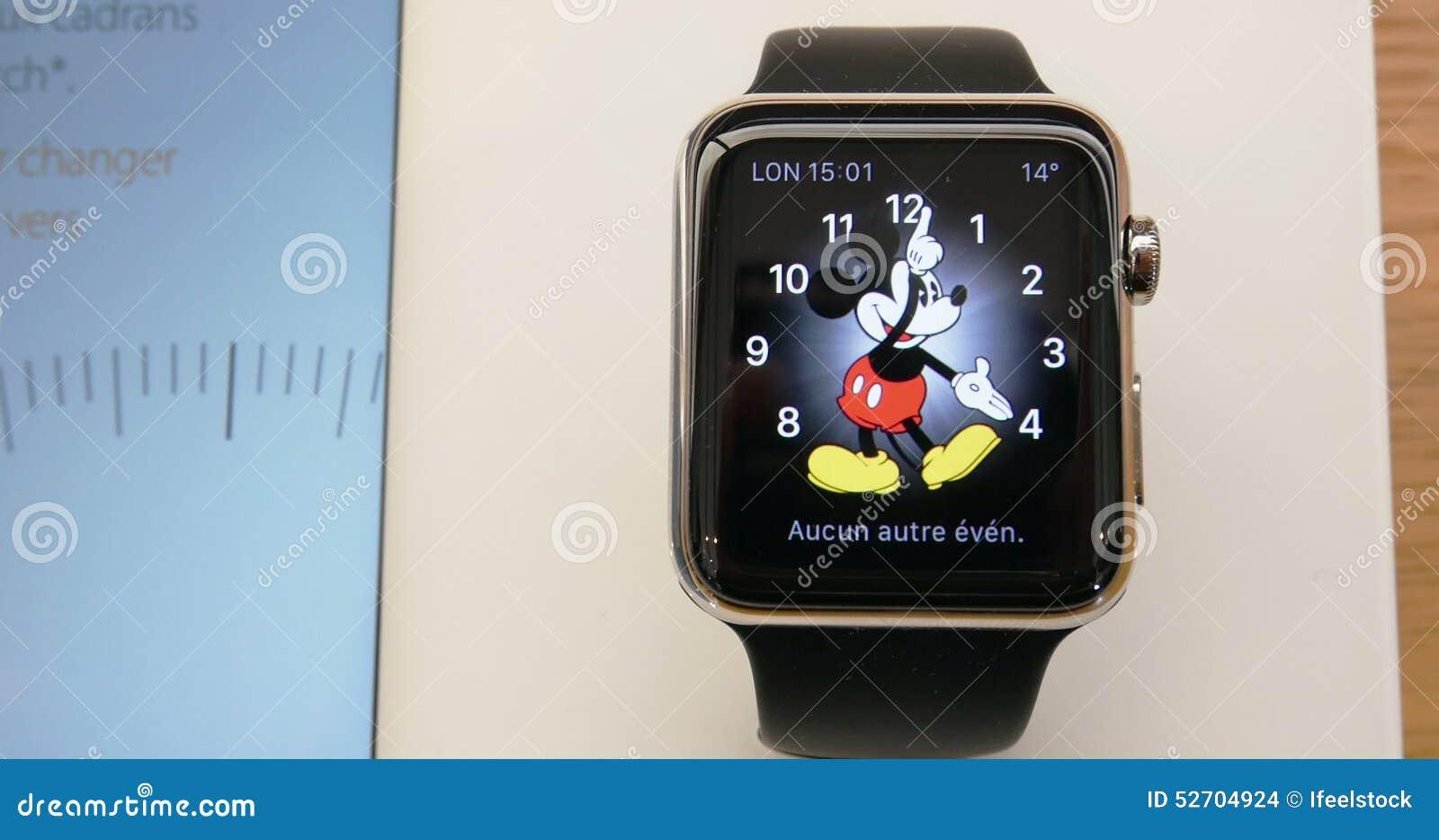 sitio de buena reputación 6ef28 b4c29 Apple Watch - Mickey Mouse Watch Face Stock Footage - Video ...