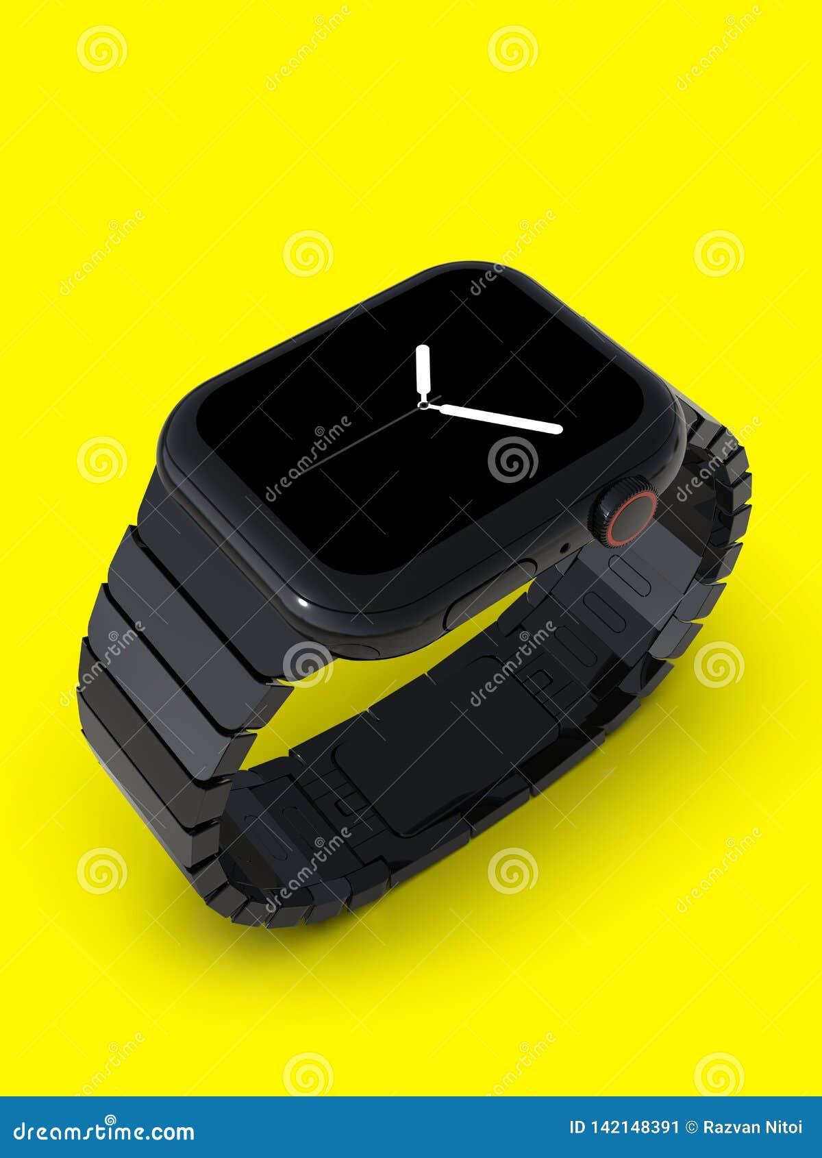 Apple Watch 4, 44mm, black steel smartwatch, analog display