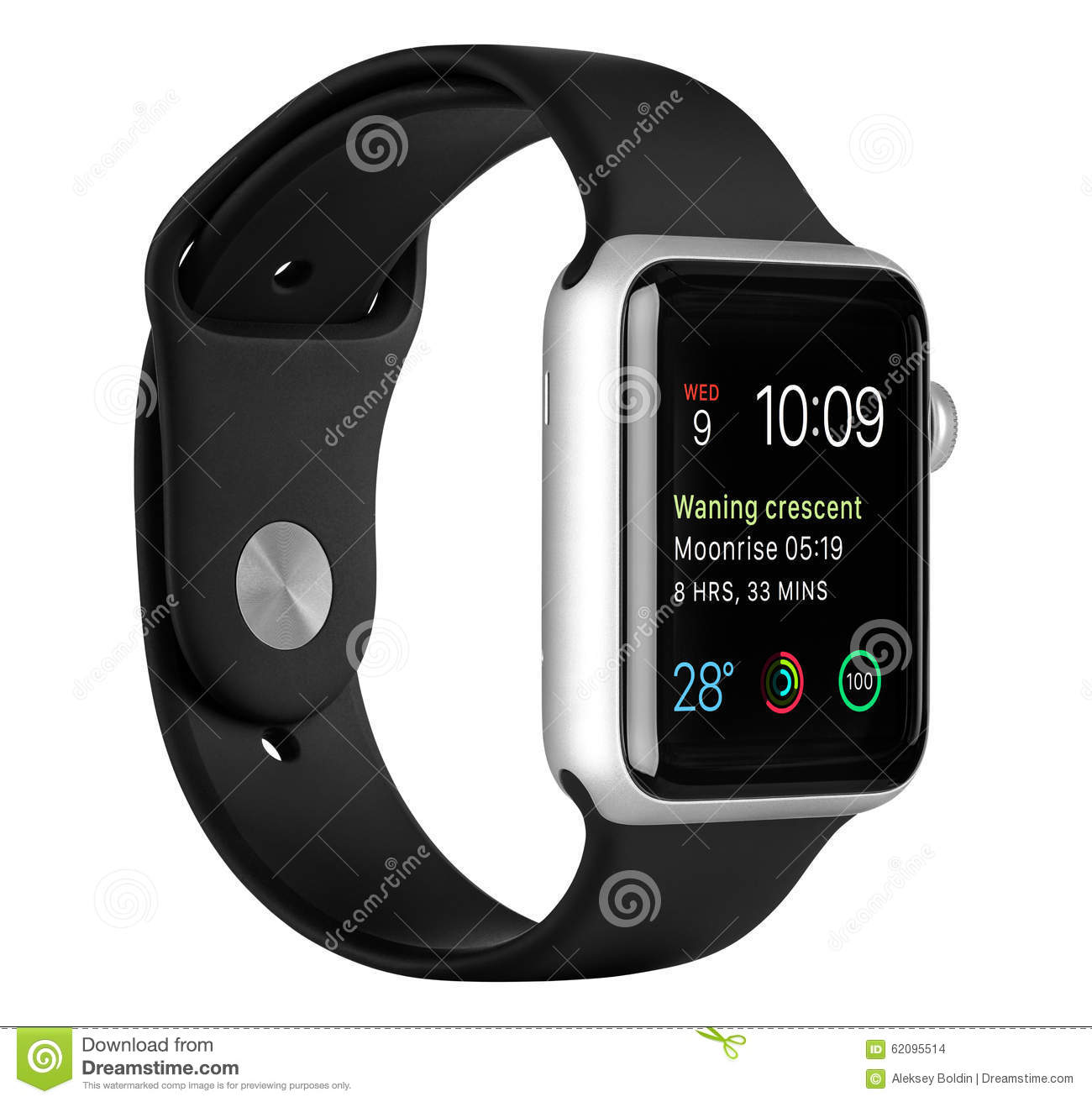 best sneakers a7308 9f2d0 Apple Watch Sport Silver Aluminum Case With Black Sport Band ...