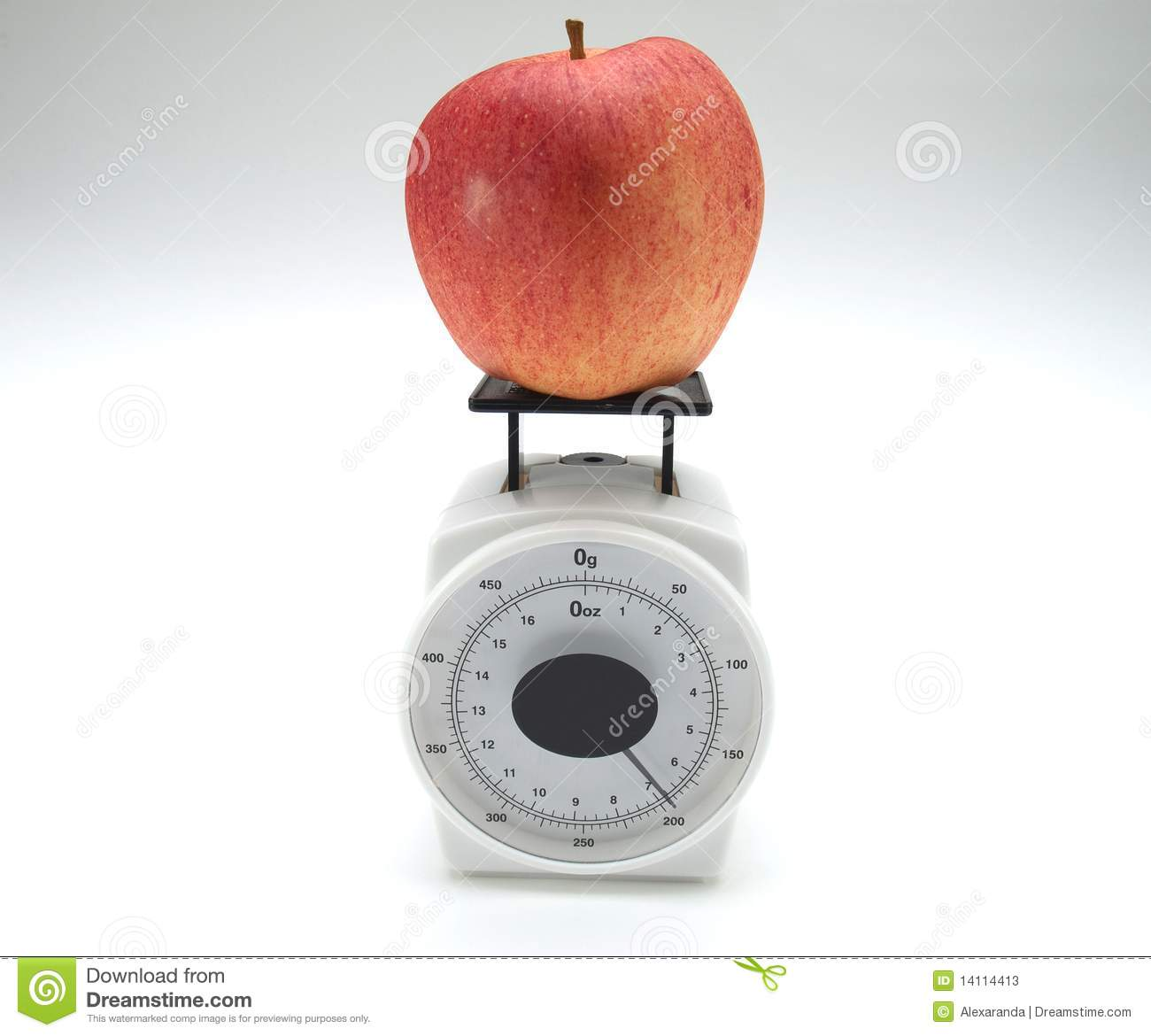 Apple And Weight Scale Stock Image Image Of Juicy Obesity 14114413
