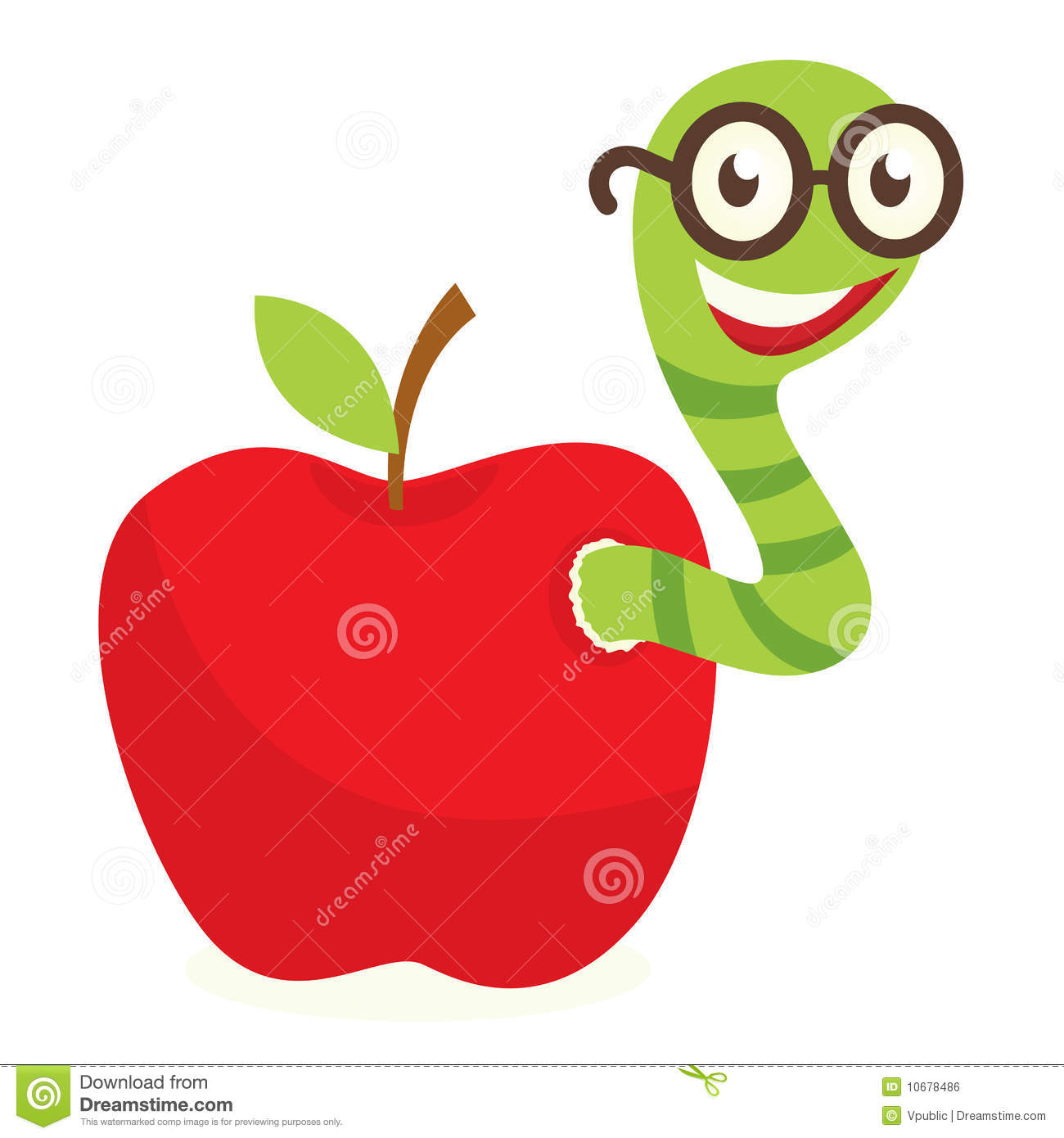 how to draw a worm in an apple