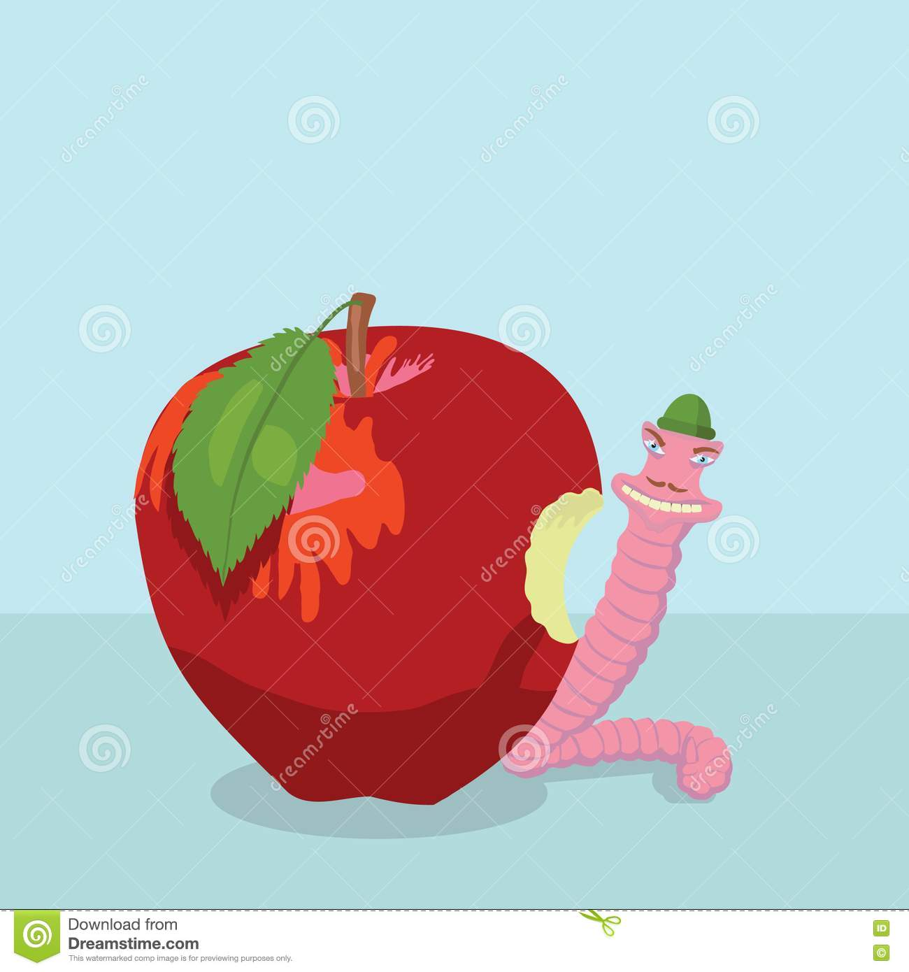 Apple And Worm Royalty Free Stock Image - Image: 14963026