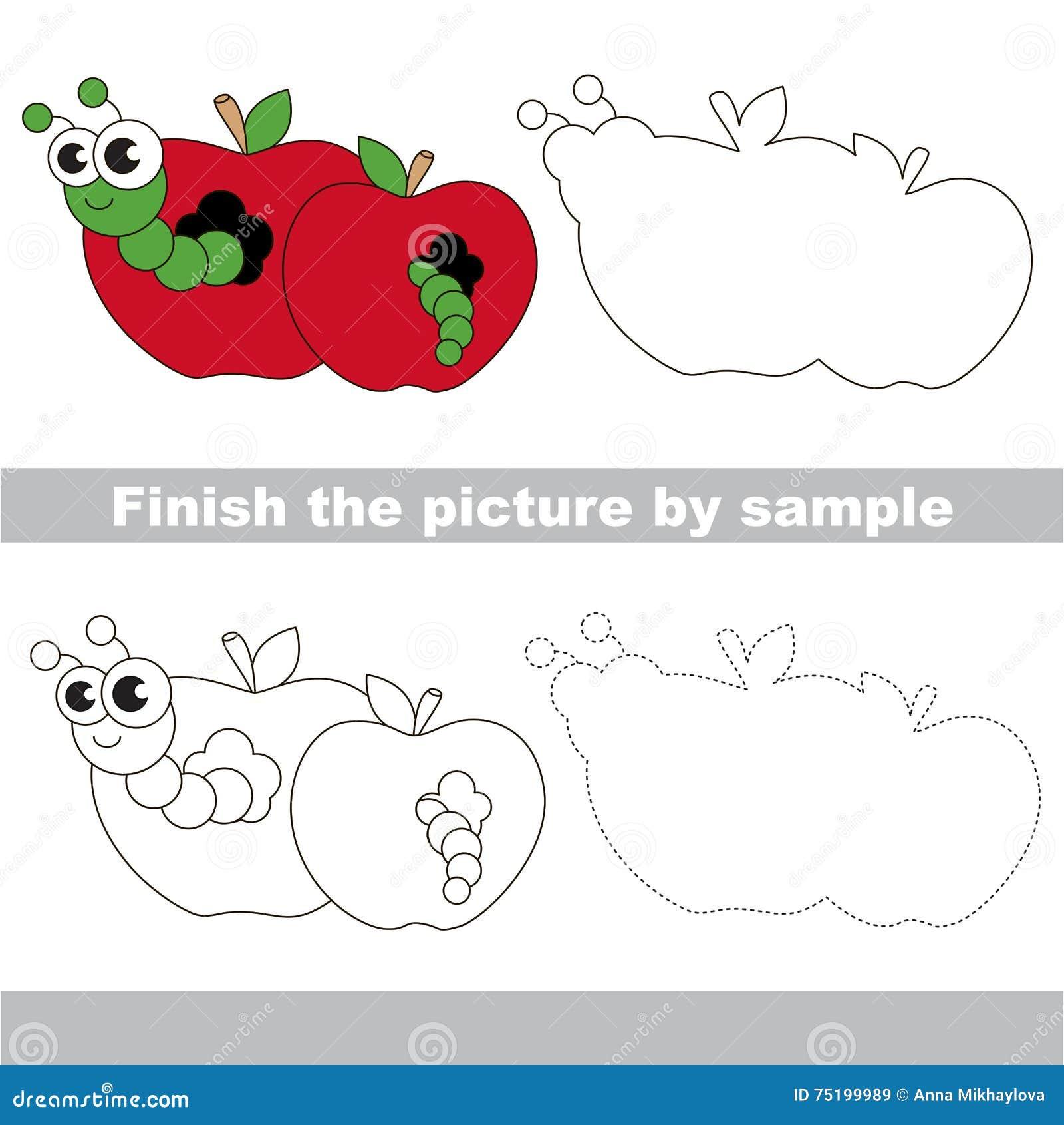 Apple Worm Drawing Worksheet Stock Vector Illustration Of Logic