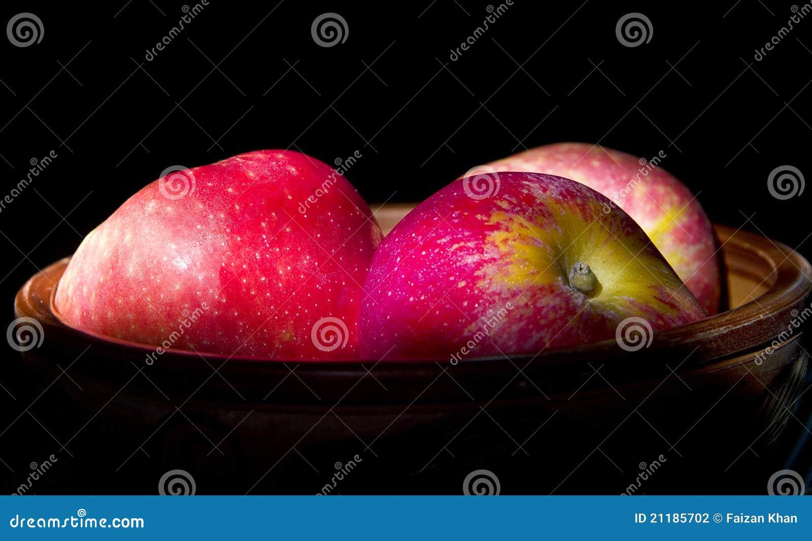Apples on Black Background