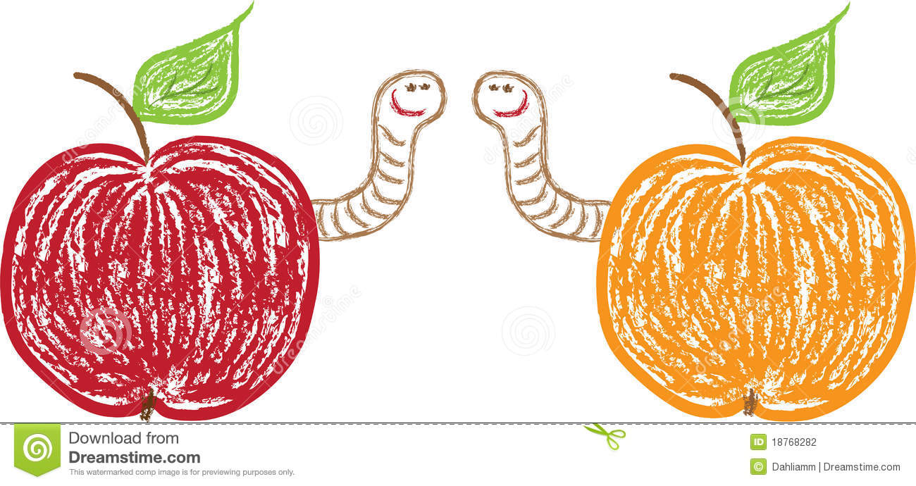 Apples And Funny Worms Stock Photography - Image: 18768282
