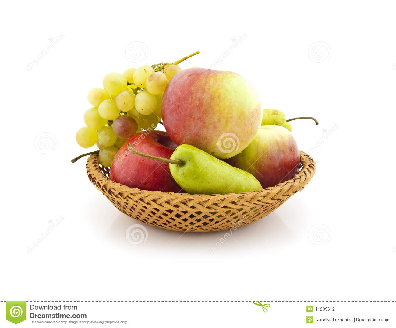 Apples, pears and grapes appetizing autumn fruit.