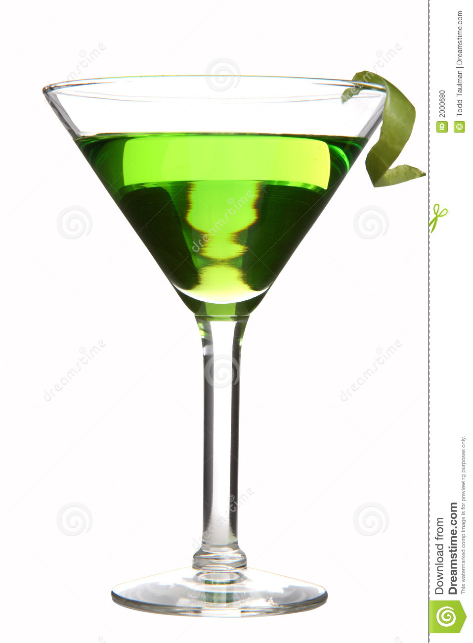 Appletini on white, with apple peel twist. With clipping path.
