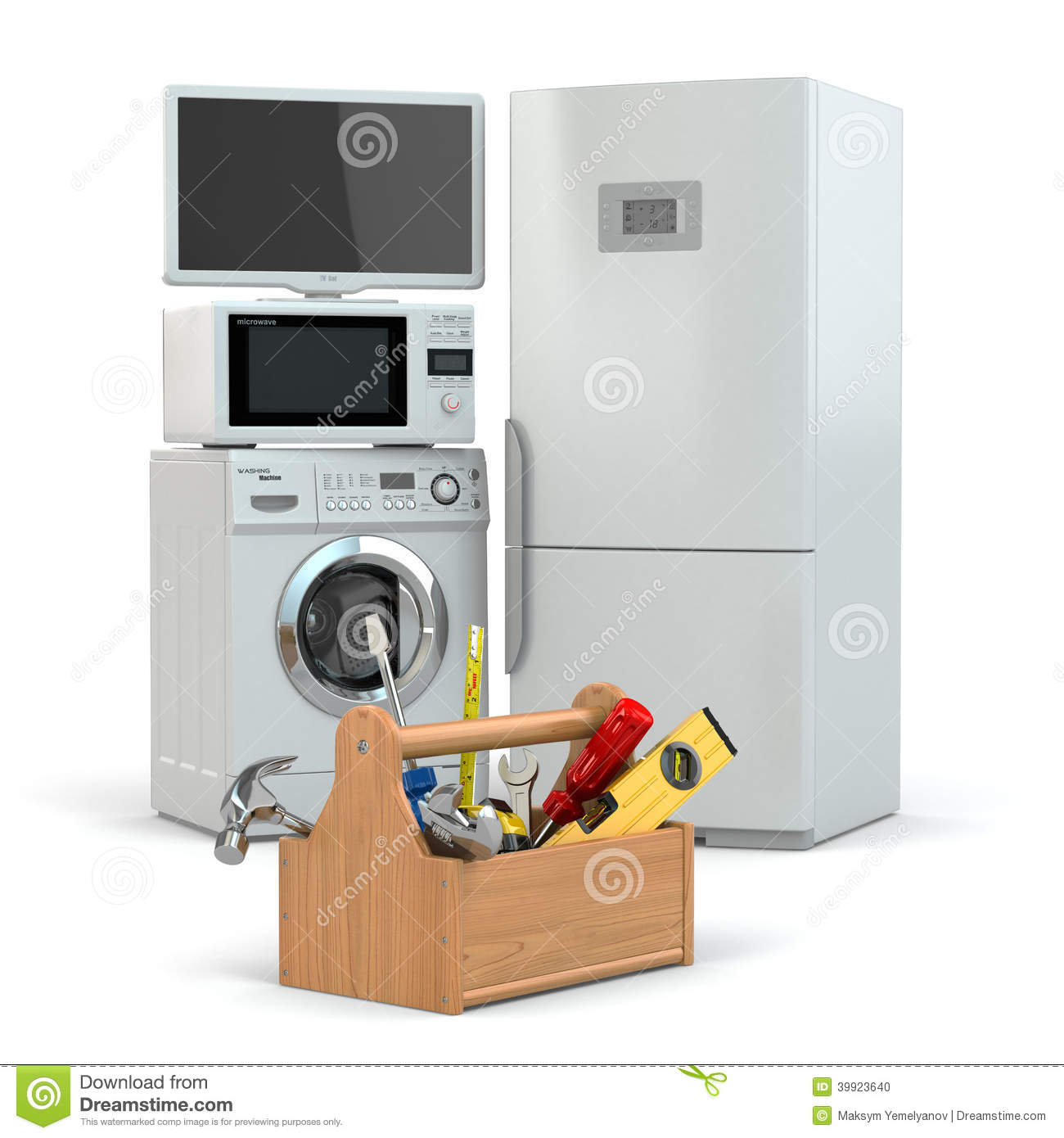 Appliance Repair Toolbox And Tv Refrigerator Washing