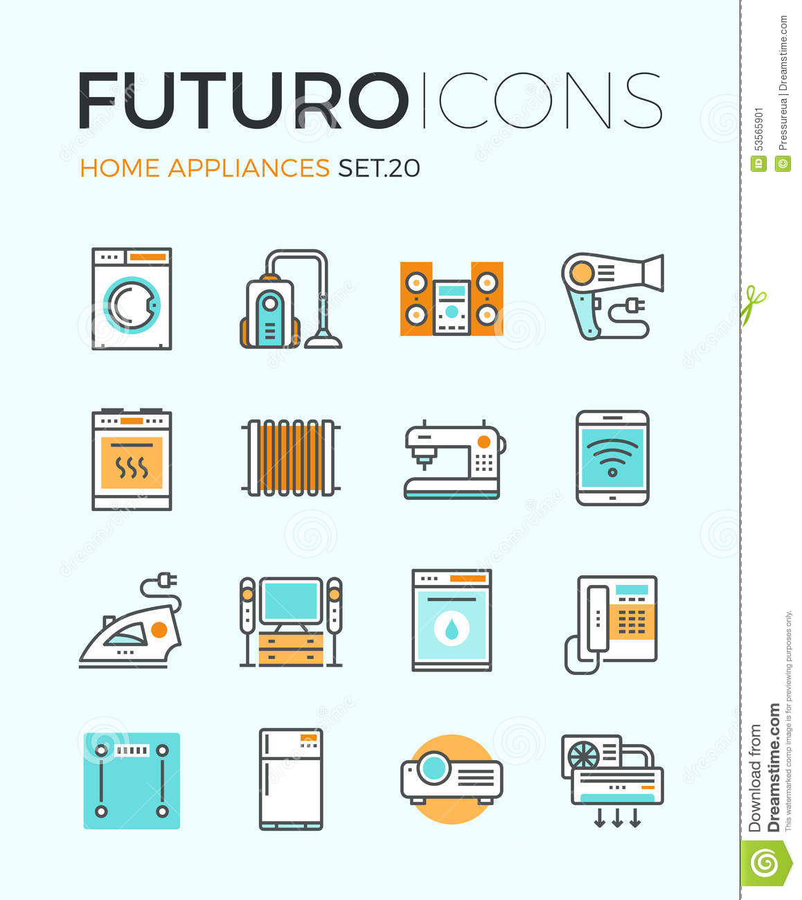 Appliances futuro line icons stock vector image 53565901 - Home design elements ...