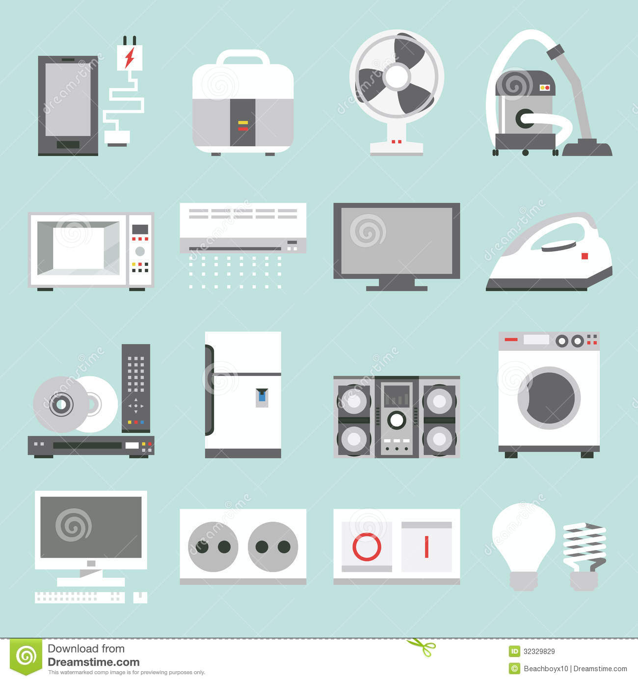 Appliances icons royalty free stock images image 32329829 for Household appliances design