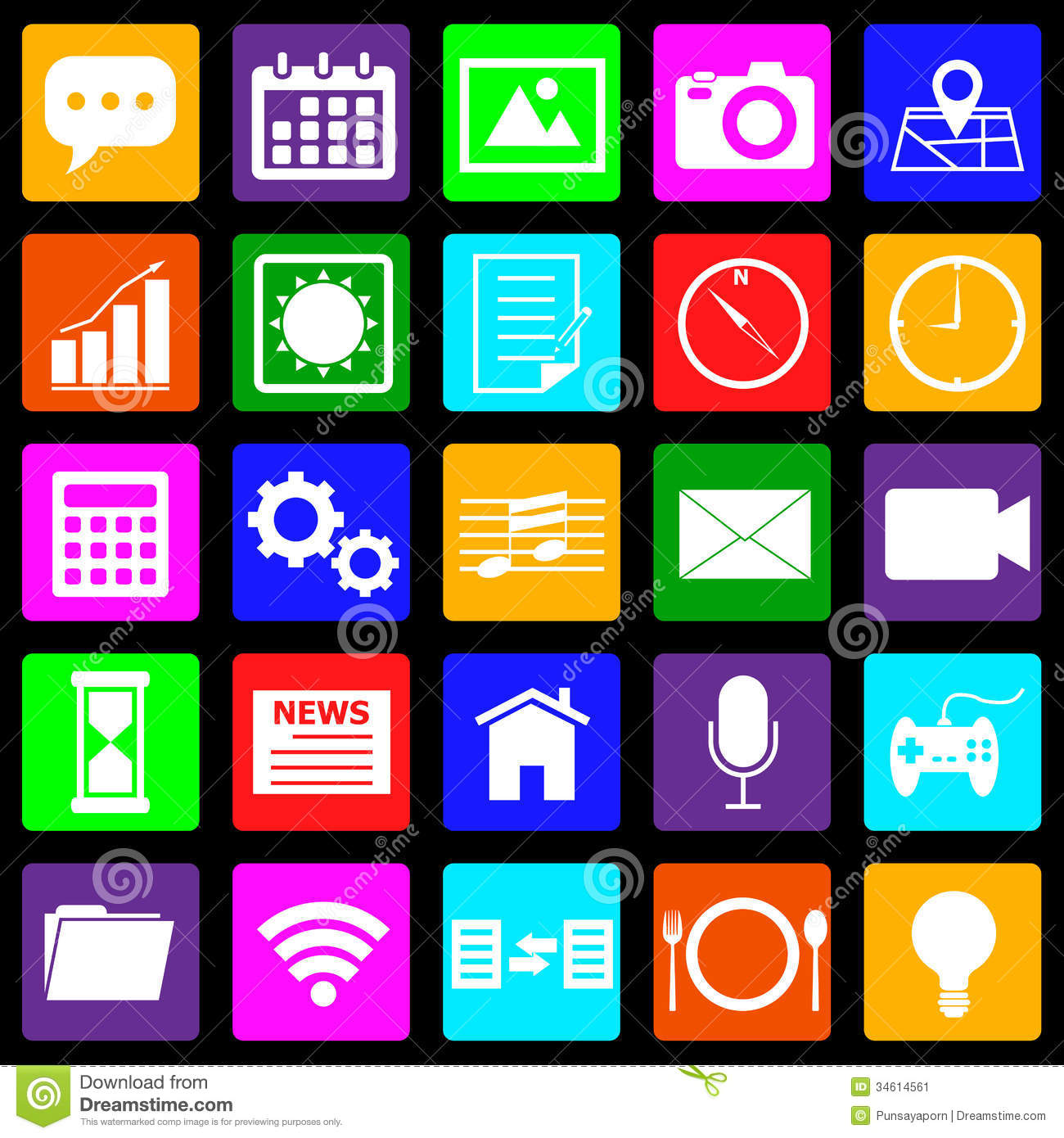 application colorful icons on black background stock image image