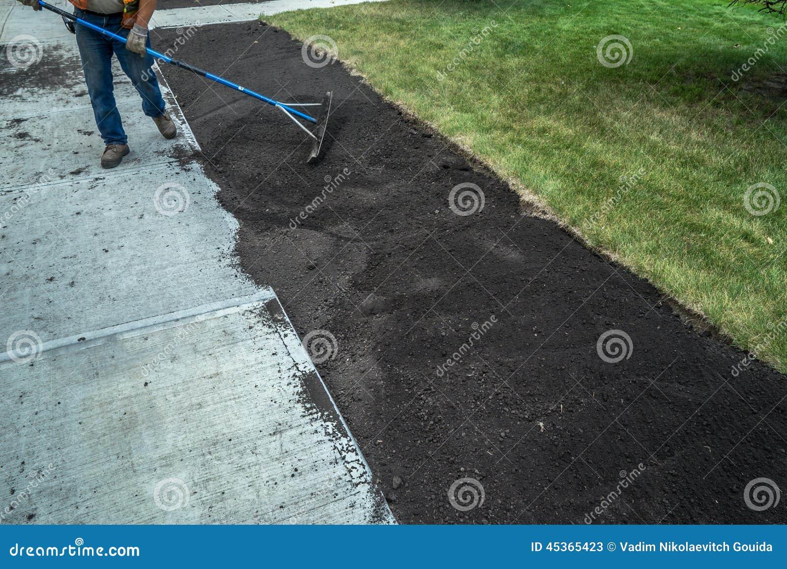 Application de sol supérieur au nouveau trottoir