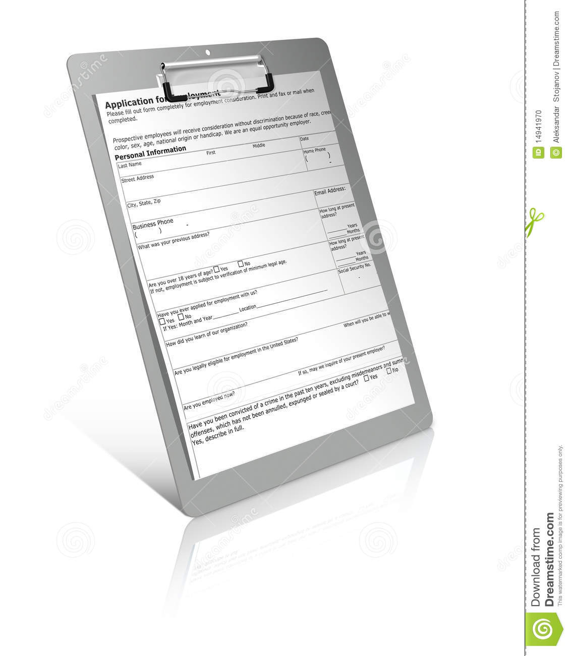 application form on clipboard stock illustration illustration of