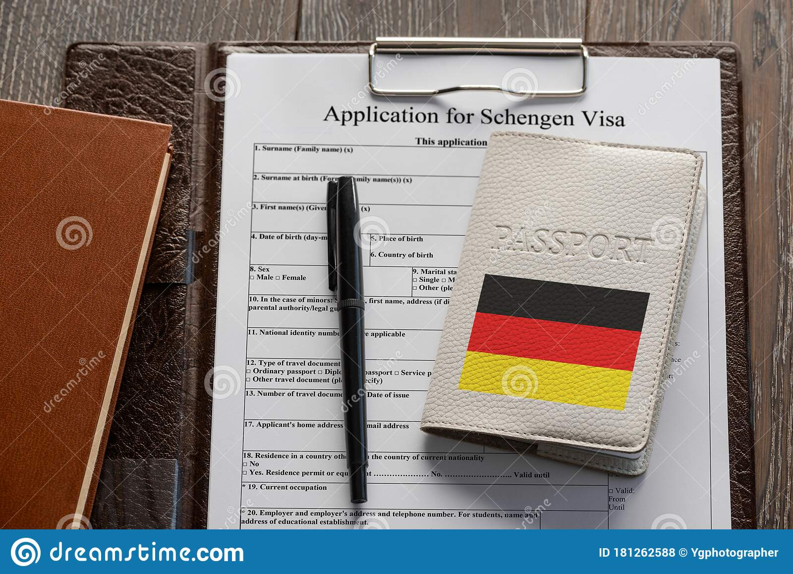 Application Form Pen And A German Passport Stock Photo Image Of Security Freedom 181262588