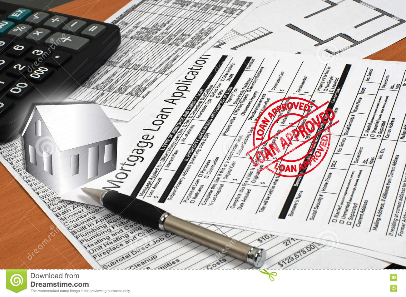 Application for a mortgage loan is on the table